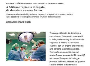 A Milano trapianto di fegatoda donatore a cuore fermo - Corriere